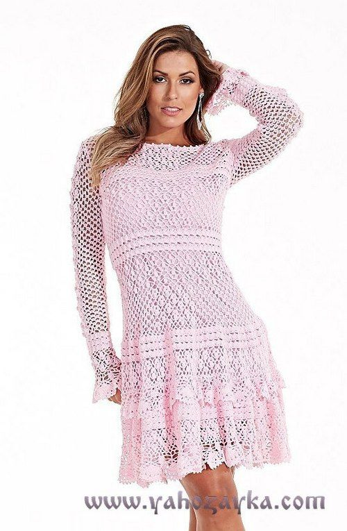 Красивое платье для лета крючком. Ажурное платье с длинными рукавами | Я Хозяйка