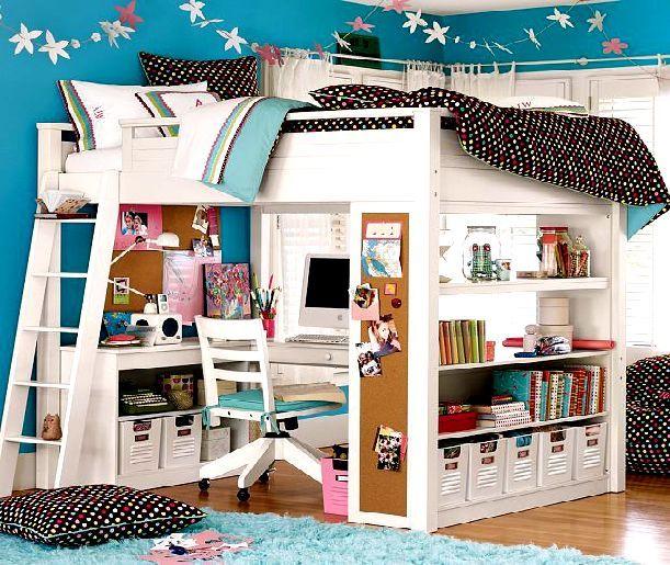 Blue, black, and pink desk/bed loft