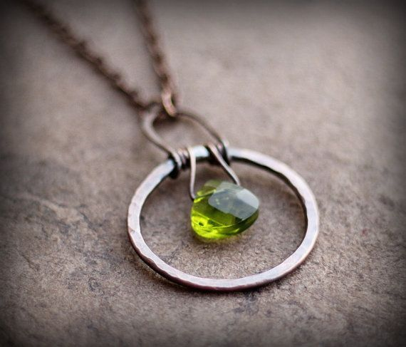 Circle Necklace Green Crystal Necklace Ring Necklace by Triballa