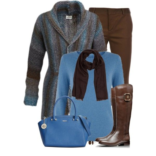 Blue and Brown by daiscat on Polyvore featuring Hobbs, Dsquared2, Tory Burch, DKNY, Allurez, Gucci and Kafé Stigur