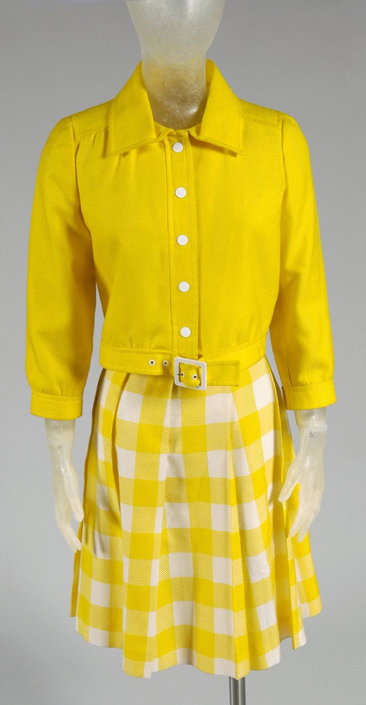 Woman's suit: jacket and skirt | Designed by André Courrèges, French, born 1923 | France, circa 1970 | Yellow acrylic twill, yellow and white checked acrylic twill | Philadelphia Museum of Art