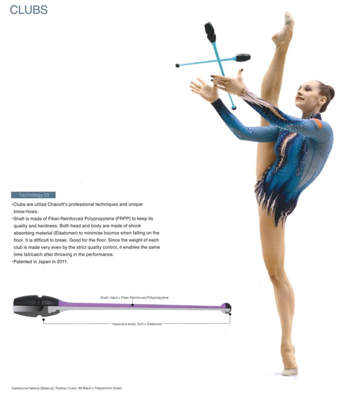 Chacott Rhythmic Gymnastic Apparatus - Clubs  Chacott technology ensures that   - Clubs are made out of shock absorbing material  - Good weight distribution so apparatus falls with the same time frame as when thrown  - Rubber Club and Plastic Club options  - Linkable ends   Sizes :  455mm  450mm  410mm  400mm  365mm