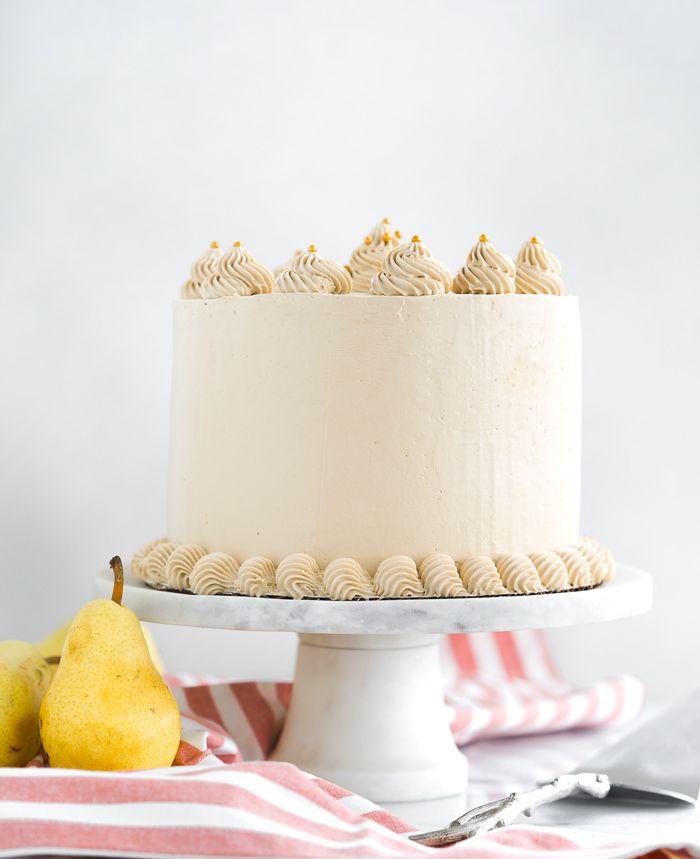 Pear Spice Cake With Dark Brown Sugar Buttercream Recipe Spice Cake Cake Brown Sugar