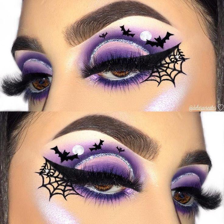 Halloween makeup, Halloween spiderweb eyeliner tutorial ...