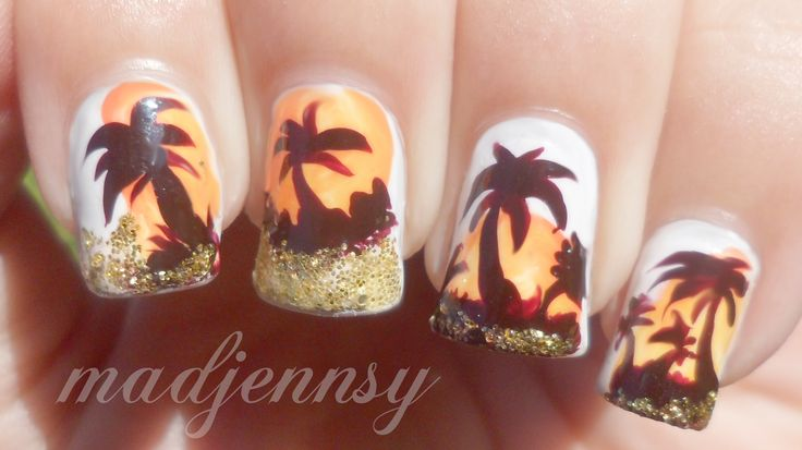Glittery Palm Tree Nail Art  Watch HD Nail Tutorial! https://youtu.be/X6qmdwXo-DA