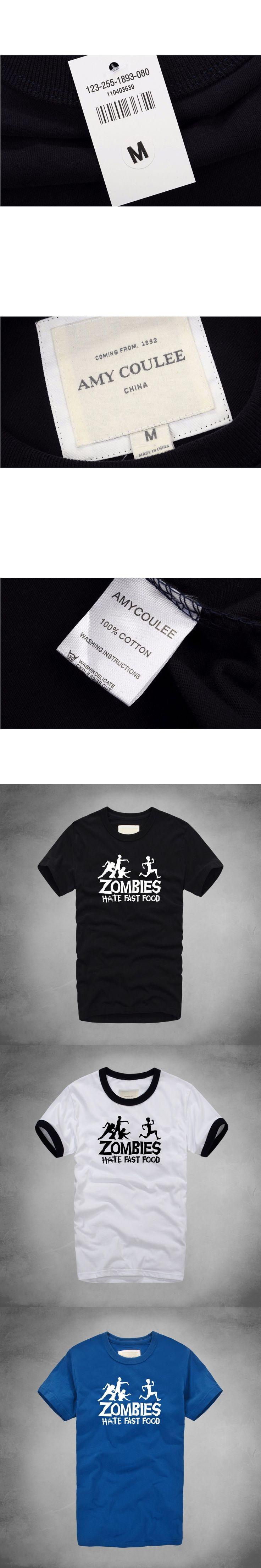 2017 Summer fashion Men T Shirts Zombies Hate Fast Food Funny Slogan T shirt Cotton T-shirt Round Neck Casual Print Tshirt