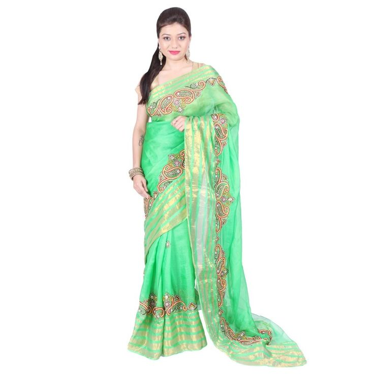 Parrot Green saree embellished with nakshi , pearls and diamonds with matching blouse.