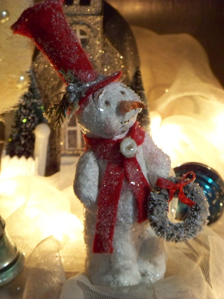 Ooak sculpted paper mache winter christmas vintage snowman for Paper mache christmas