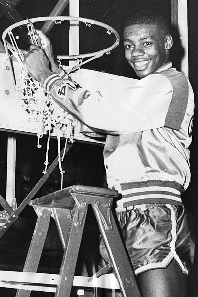 Crispus Attucks High School of Indianapolis, Indiana, became the first all-African American basketball team to win a U.S. state championship in 1955. Future Hall of Famer Oscar Robertson (above) scored 30 points in the Tigers' 97-74 title-game victory over Roosevelt, an integrated school. Crispus Attucks went 31-0 and repeated as champs the following season. The team's triumph over opponents and racism was told in the 2002 documentary, Something to Cheer About.