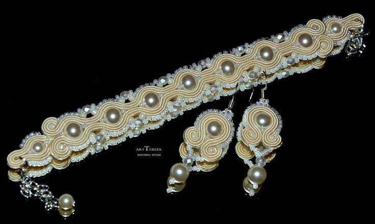 biżuteria ślubna sutasz ecru z perłami swarovski