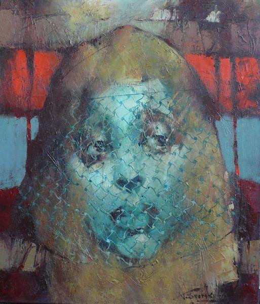 "Waclaw Sporski ""The Lady With The Veil"" 60х70 Oil On Canvas sporskiart.com"