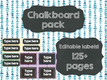 Get back to school with over 125 pages of chalkboard-style labels to use within your classroom! Background images include polka-dot spots and patterns!   Each set contains a range of different colours and patterns to choose/mix and match with!   One document is non-editable and includes:  - Numbers 0-100  - Days of the week - Months  - Table numbers  - Word wall with alphabet  The second document is editable for your use: - Includes over 50 pages of chalkboard designs to edit