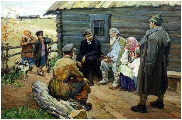 American Realism Art | Lenin With Villagers . Post-Stalin (1959). Painted by Evdokiya Usikova ...