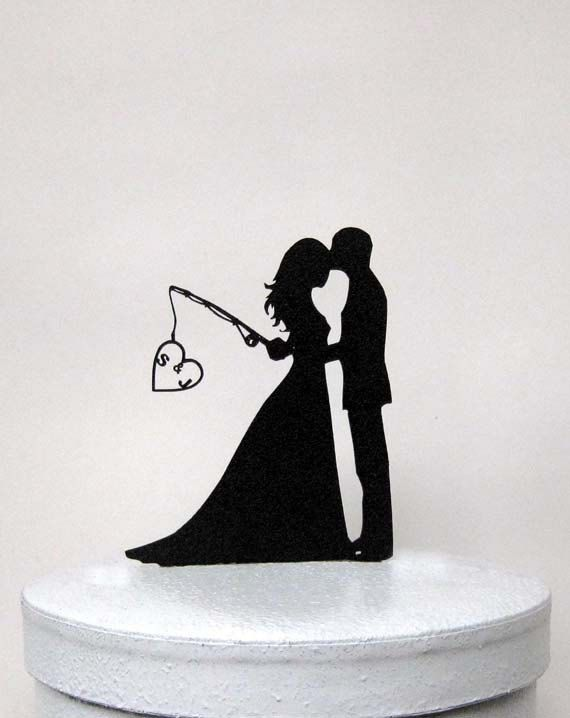 Just ordered this :)  Our wedding cake topper!!!  This Personalized Wedding Cake topper is made of 1/8 ABS plastic    Add your initials in the heart or just fishing grooms heart    Size; 5W x6H