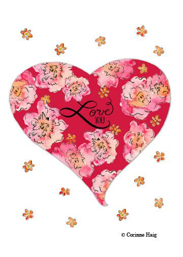 Valentine Card Flower Heart Love You