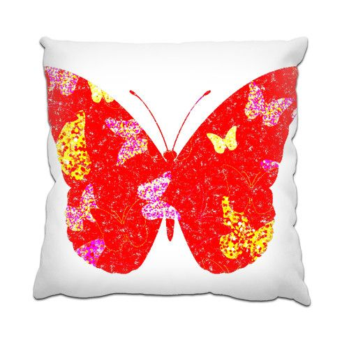 Red Butterfly Cushion by hoganfinland @zippiuk Originating from a handpainted image this design features a flutter of painted butterflies contained within one big red butterly silhouette. #zippi #cushions #homestyles #homedecor #papillon #wings #insects #nature #pillows #pillow #comfy #design #flutter #butterflies #red #butterly #silhouette