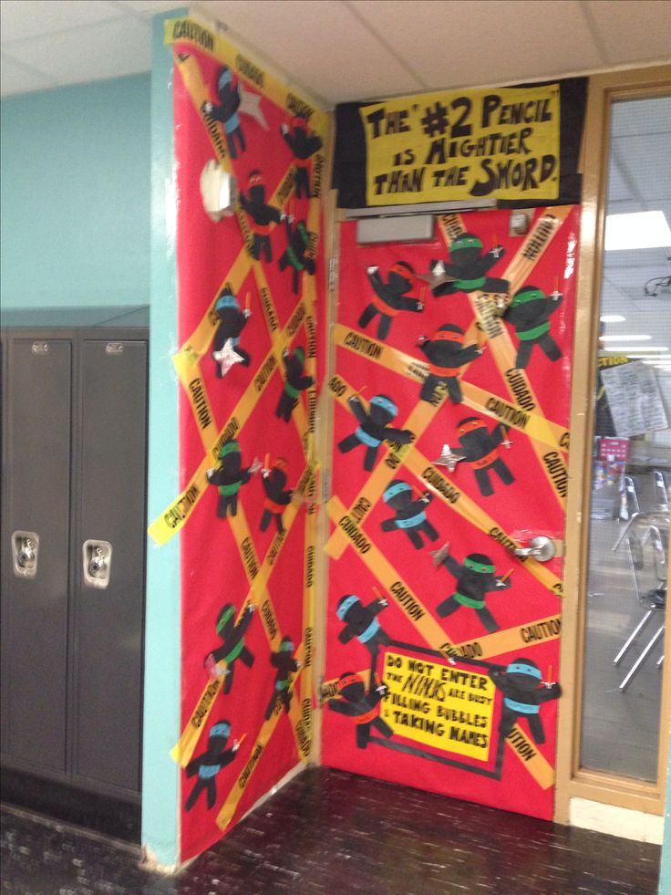 Classroom Decoration Jungle Theme ~ Ninja state testing door decoration for the classroom