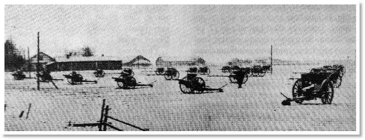 Suojeluskuntajoukkojen sotasaalista Ilmajoella 1918, joista osa tänäkin päivänä Ilkan kentällä.