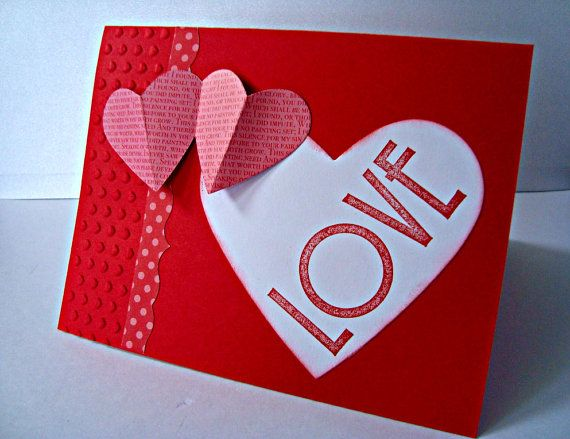 Love Red Heart Valentines Greeting card 3D by Wcards on Etsy, $3.00