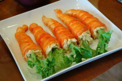 """""""Carrot"""" crescent rolls filled with chicken salad and leafy lettuce.  Adorable!!  Would be a fun tradition for Easter lunch/brunch."""