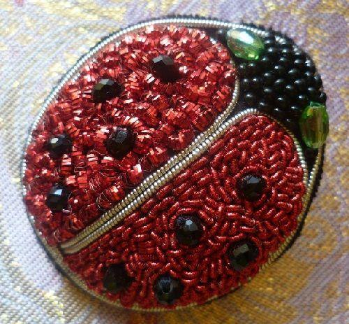 Brooch Beetle Ladybug gold thread embroidery on black velvet, black faceted beads
