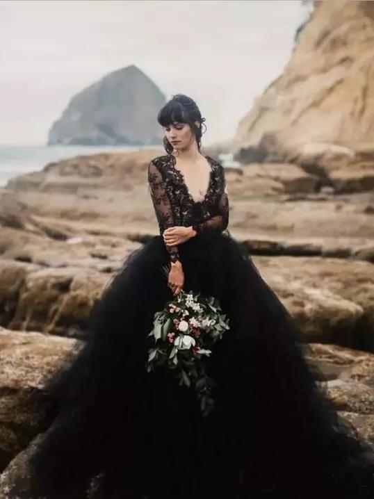 5e9175cc45 Chic V neck Black Wedding Dress Lace Open Back Long Sleeve Wedding Dresses  Bridal Gowns AMY1901