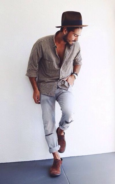 Casual (Summer) - Jeans or jean shorts + button down + hat. SHoes: toms or like toms