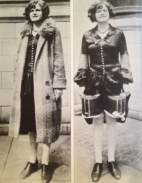 A woman hide 2 cans of alcohol under her dress & coat in Detroit during prohibition