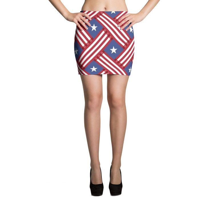 Red White Blue Star CAMO Mini Skirts