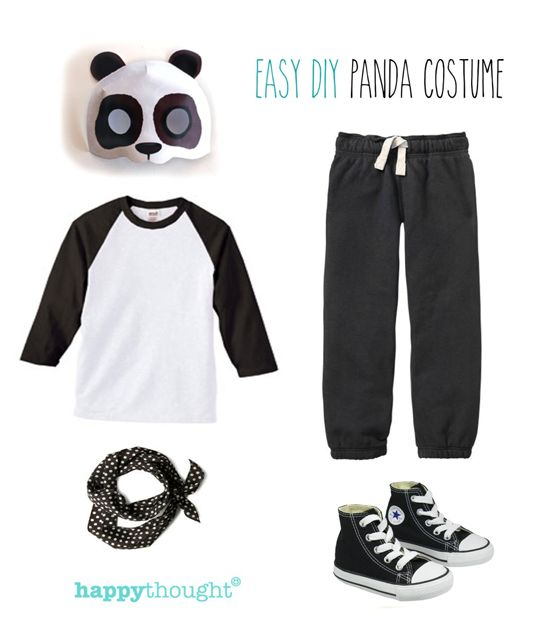 Easy, fun DIY panda costume with happythought printable panda mask! happythought.co.uk/craft/animal-costume-ideas