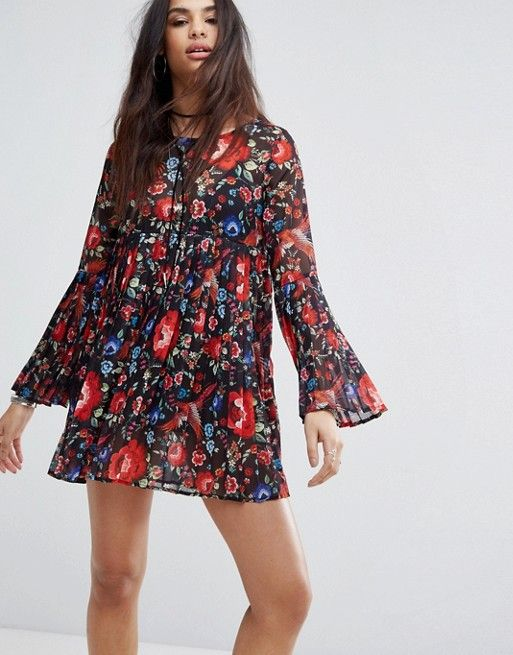 Missguided Floral Print Pleated Smock Dress