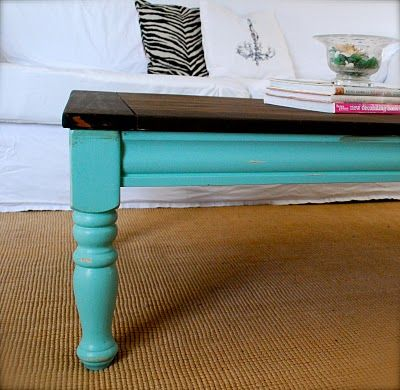 Pink and Polka Dot: Coffee Table Re-Finished- Garden Pot color from Lowes coastal/seaside collection.