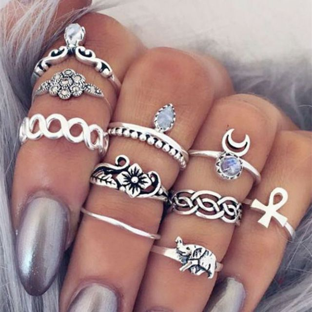 10 PÇS/LOTE Boêmio Midi Conjunto Anel Steampunk Do Vintage Elefante Lua Anel Knuckle Anéis para As Mulheres Anel Anillos YW657