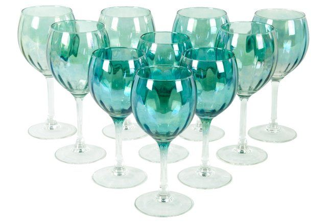 Midcentury Wine/Water Glasses, S/10