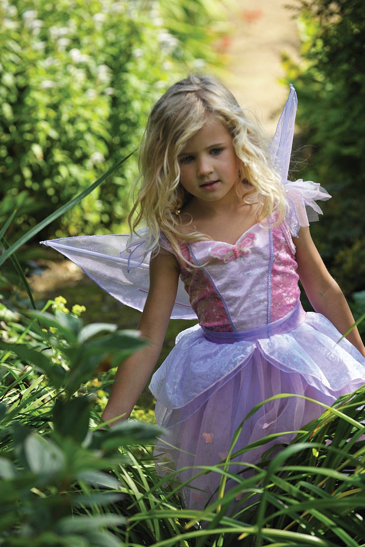 Butterfly Fairy ~  This gorgeous Butterfly Fairy fancy dress costume is made of soft lilac and dusty pink velour with a net skirt and peplum.  It is finished with net detailing at the shoulders, lilac braiding and a butterfly motif.  The outfit comes with a pretty pair of pink detachable wings. 3-5 years, 6-8 years and 9-11 years  £38.00