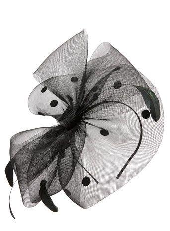 Black Spot Crin Bow Fascinator - fascinators & hats - occasionwear - Women