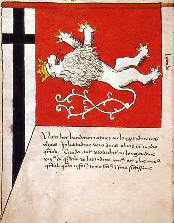 "f°8v, Chorągiew miasta Królewca // Banner of the Town of Königsberg (Królewiec) -- ""Banderia Prutenorum"", by Jan Dlugosz, 1410"