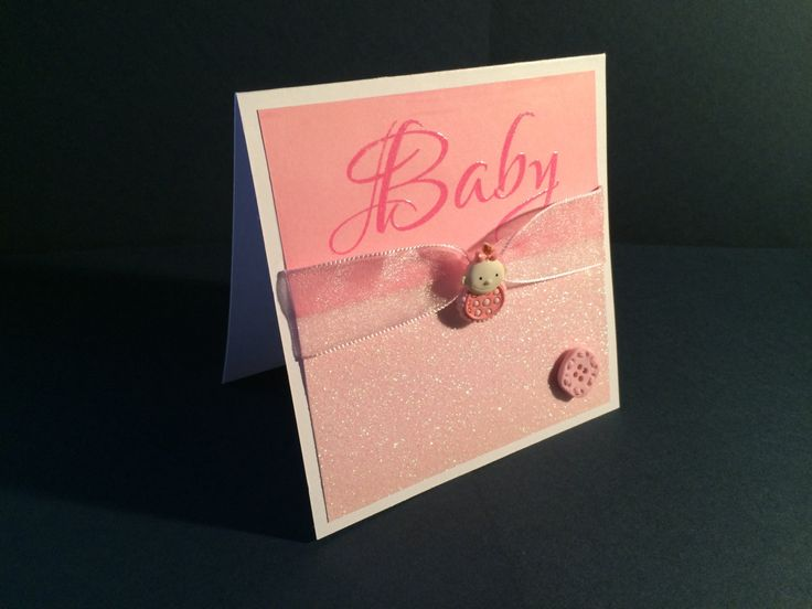 Pink Sparkly Baby Card by CatkinsCrafts on Etsy