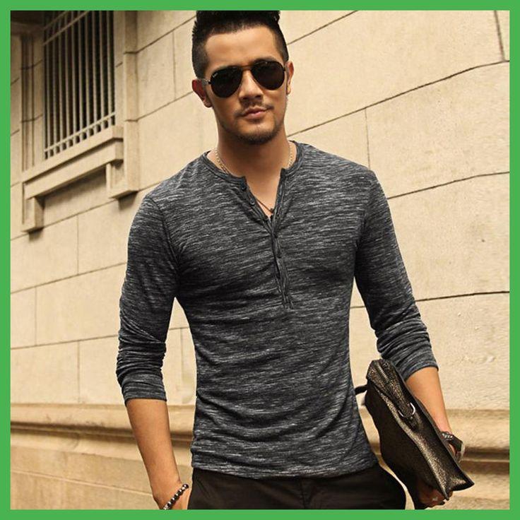 New Men Henley Shirt 2016 new Tee Tops Long Sleeve Stylish Slim Fit T-shirt Button placket Casual men Outwears Popular Design