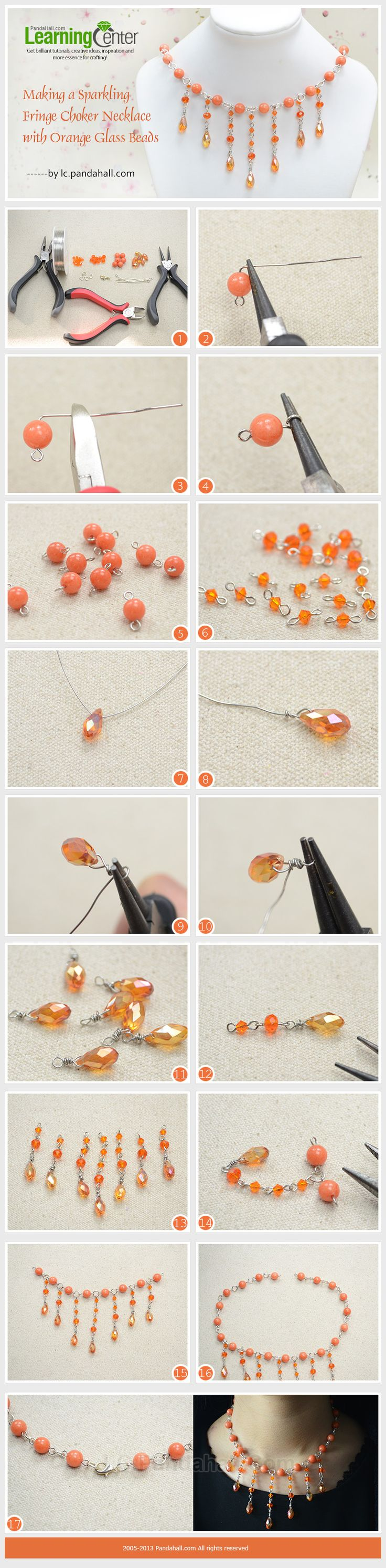 Making a Sparkling Fringe Choker Necklace with Orange Glass Beads