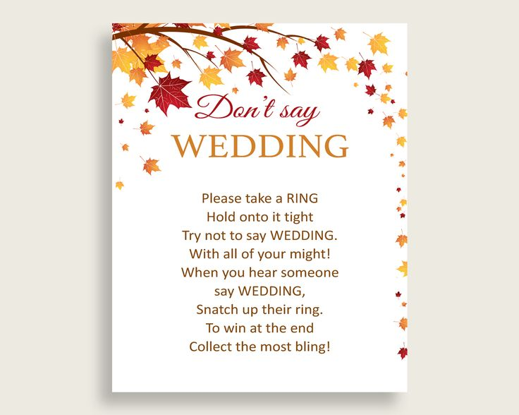 Don't Say Wedding Game Bridal Shower Don't Say Wedding Game Fall Bridal Shower Don't Say Wedding Game Bridal Shower Autumn Don't Say YCZ2S #bridalshower #bride-to-be #bridetobe