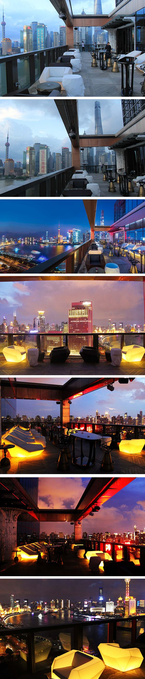 Incredible view that embraces the city of Shanghai from the Wanda Luxury Hotel (China)! Verticality, Modernity, Light ... Feast your eyes seated in Vondom Faz Lounge Chairs. At nightfall the furniture lights up to form part of the city! #hotel #luxe #luminousfurniture #outdoor #vondom #lounge
