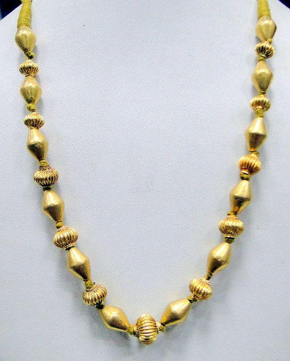 vintage 22 K gold beads necklace strand jewelry by TRIBALEXPORT, $801.00