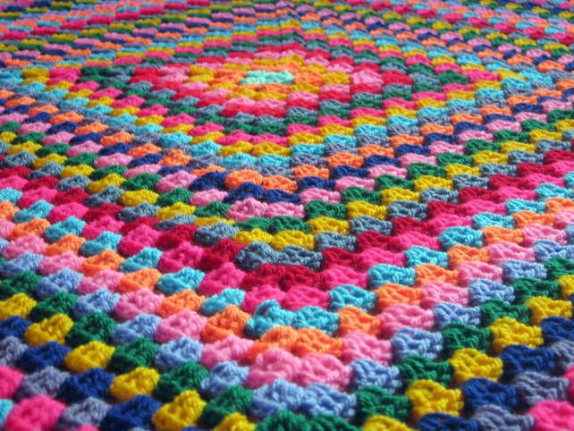 pictures of granny square crocheted blankets | Harlequin Colourful Granny Square Retro Style Crochet Blanket Afghan