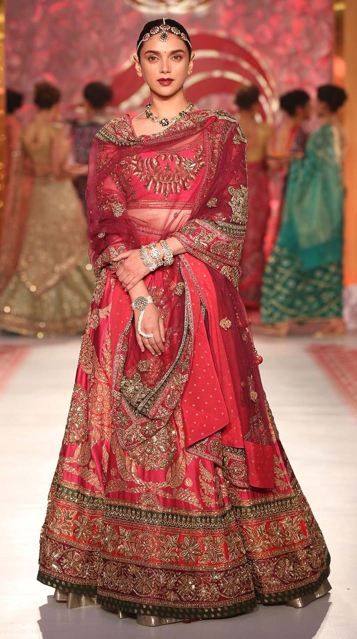 Aditi Rao Red Bridal Lehenga Ensemble With Heavy Hand Zardozi Work