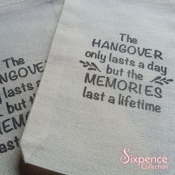 10 x Hangover Kit Memories Muslin Favour Bags