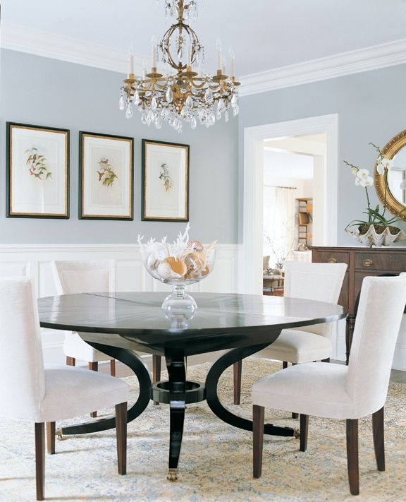 Design Chic   love a round dining table1174 best DECORATING WITH GREY images on Pinterest   Home  . Blue Grey Dining Rooms. Home Design Ideas