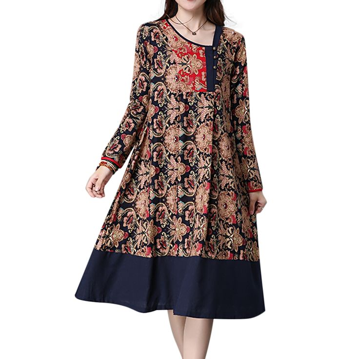 Contrast Patchwork Ethnic Printed Button Pleated Long Sleeve Women Dresses Expected restock on 2nd March 2017 new chic.com