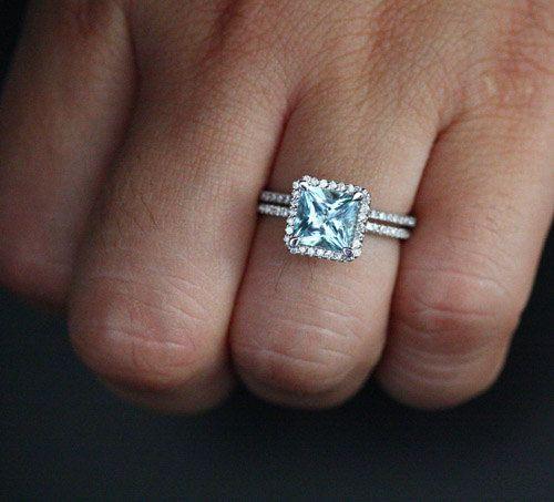 14k White Gold 7mm Aquamarine Princess Cut By Twoperidotbirds Wedding RingsAquamarine StoneDiamond