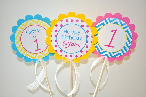 3 Girls 1st Birthday Centerpiece Sticks - Chevron Birthday Decorations with Polkadots - Teal, Pink, Yellow on Etsy, $10.00